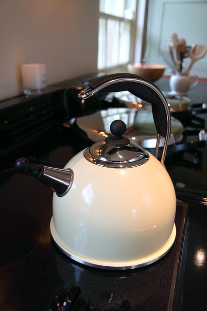 white stove top tea kettle