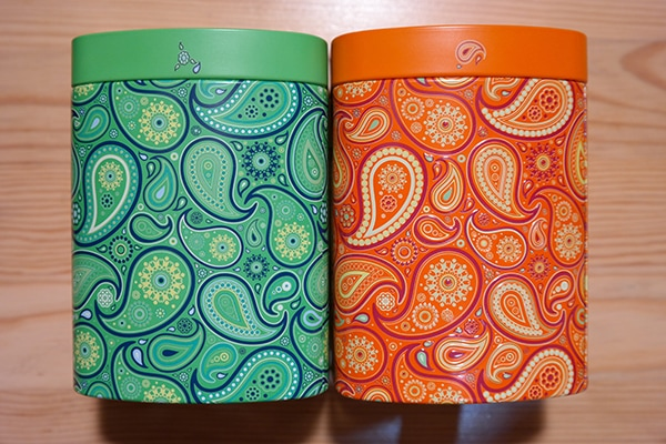 colourful tea containers