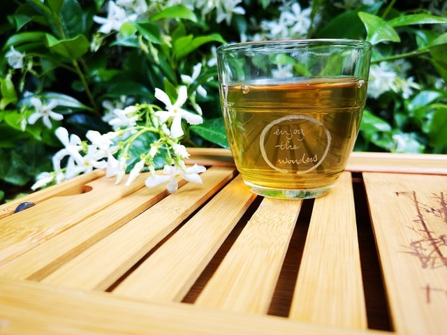 Green Tea On Wood Table