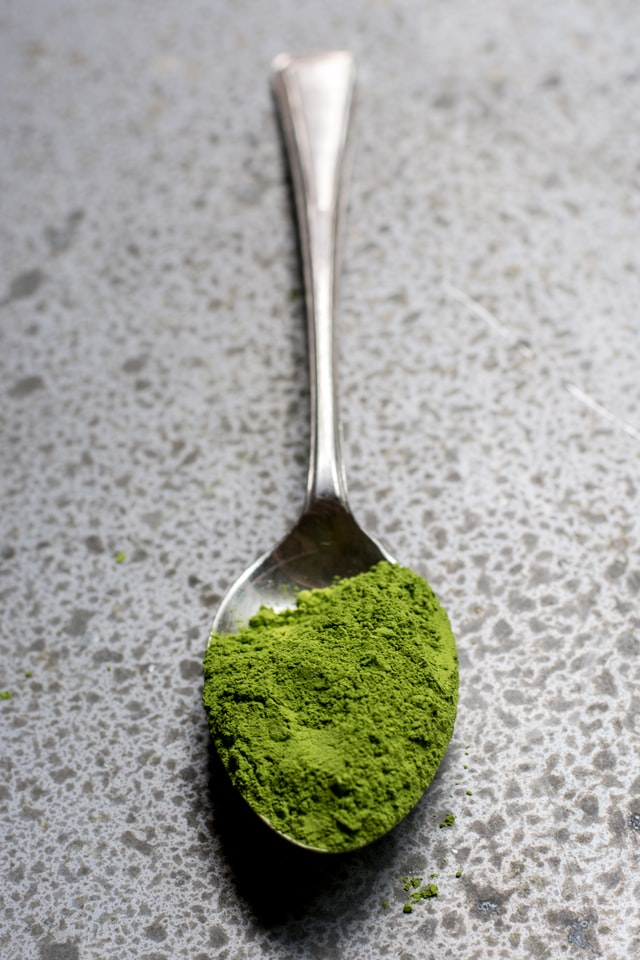 A Table Spoon Full Of Matcha Powder