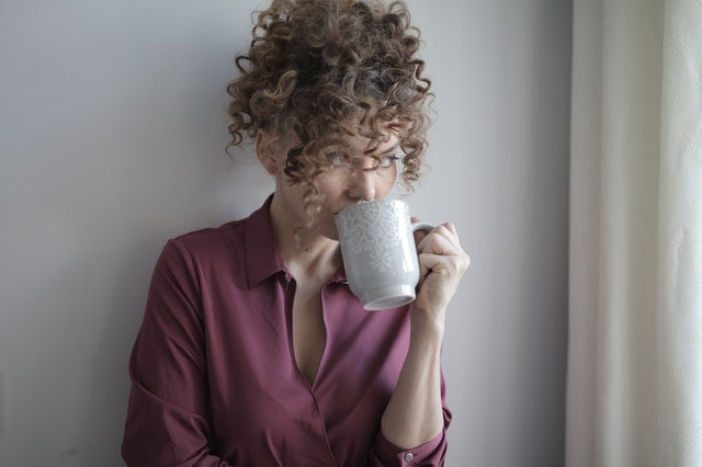 woman drinking morning tea