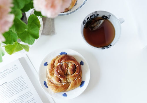 baked bread along with black tea