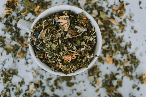 tea leaves in a cup